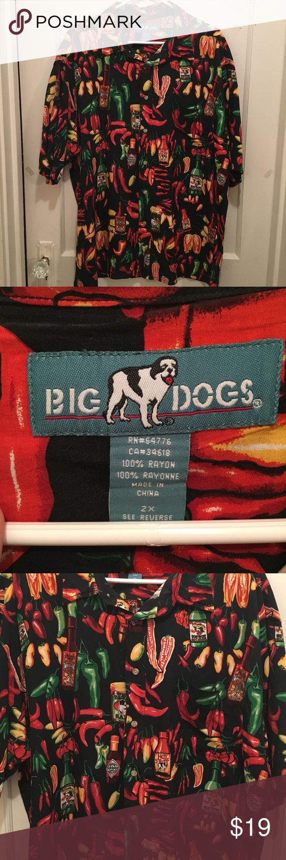 BIG DOGs Peppers and Hot Sauce Button Down Shirt BIG DOGS button down shirt with fun peppers and hot sauce bottles all over! Super fun shirt 🌶🌶🌶 Big Dogs Shirts Casual Button Down Shirts
