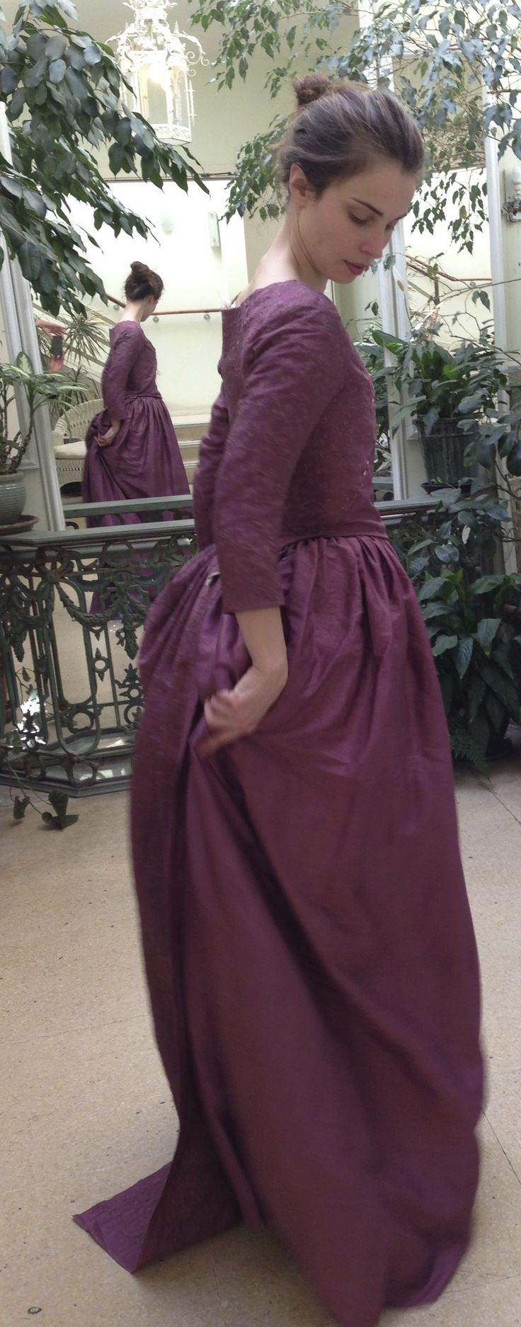 Elizabeth (Heida Reed) day dress costume fitting. Dress made from embroidered silk. Courtesy of Marianne Agertoft/Mammoth Screen. | Poldark, as seen on Masterpiece PBS