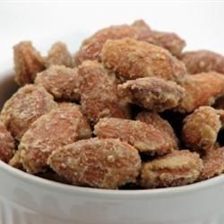 Cinnamon-Roasted Almonds Allrecipes.com tastes better with vanilla and honey added to the egg glaze and increased cinnamon