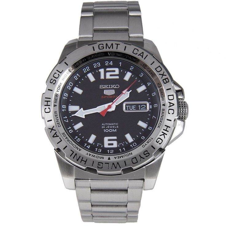 Seiko 5 Sports Automatic Black Dial Stainless Steel Men's Watch SRP683 - Seiko 5 case 44mm - usd136