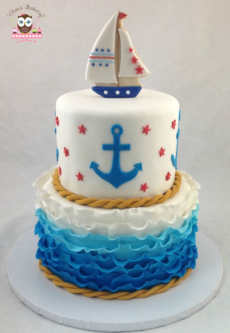 Nautical cake, ahoy its a boy cake, baby shower cake, nautical baby shower cake, ocean cake, water cake, anchor cake, ruffle cake