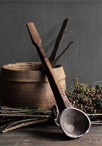Oude houten nepalese lepel