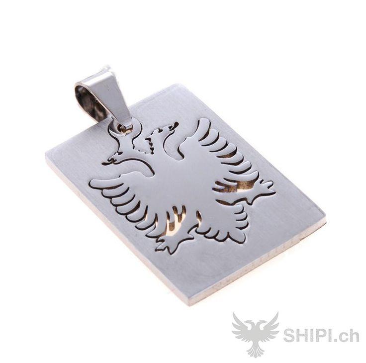 Halsketten Anhänger mit Albanischer Adler  - http://shipi.ch/shqiptare-shop/artikel-mit-albanischer-flagge/halsketten-anhaenger-mit-albanischer-adler/ http://shipi.ch/wp-content/uploads/2014/04/anhänger-albanische-flagge.jpg