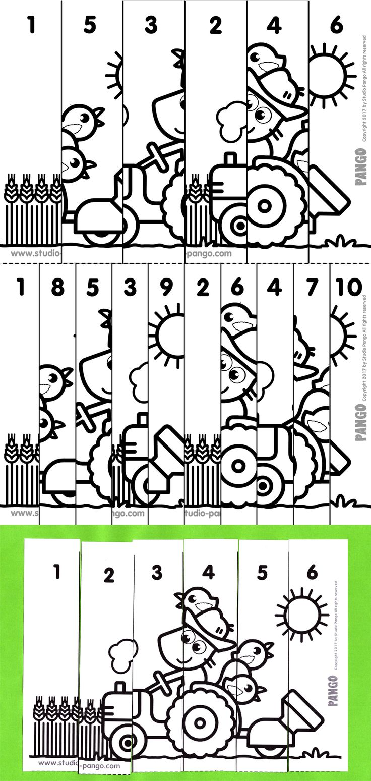 Tractor numerical puzzle #count to 6 #to 10 #maternelle