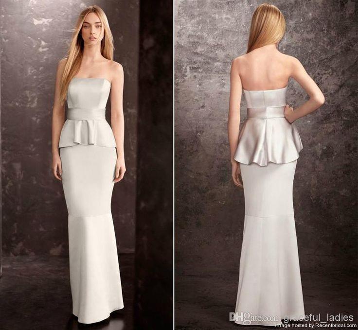 Discount Silver Mermaid Peplum Bridesmaid Dress Long Bridesmaid Dresses Strapless Wedding Guest Dresses For Mature Girl Formal Evening Dress...