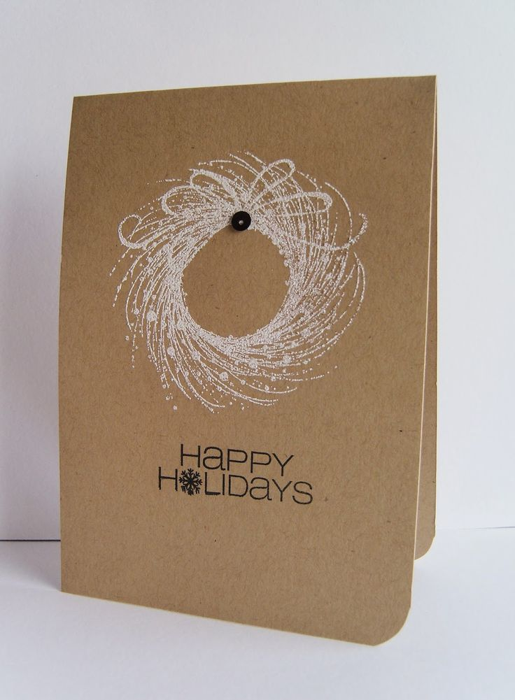 handmade Christmas card from Addicted to Stamps and More  ... clean and simple ...  kraft base ... one layer ... white stamped wreath ... simple sentiment ...