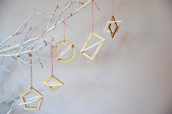Collection Of 5 Geometric 3D Christmas Decorations in White Acrylic and Birch Wood - Made in the UK