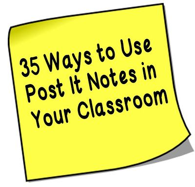 Everyone knows its more fun to write on Post it notes than notebook paper. Here are 35 great ways to use them in your classroom. Seriously, you can use these puppies for everything!!