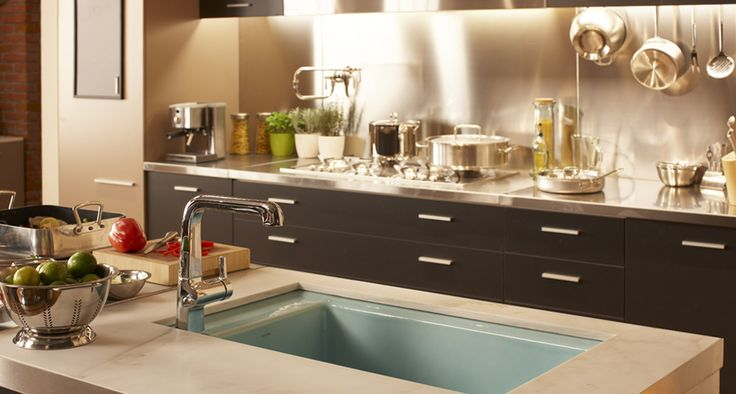 Streamlined Chef's Kitchen - Hi-Rise Potfiller Faucet, Evoke kitchen faucet and Indio undermount kitchen sink.   By KOHLER