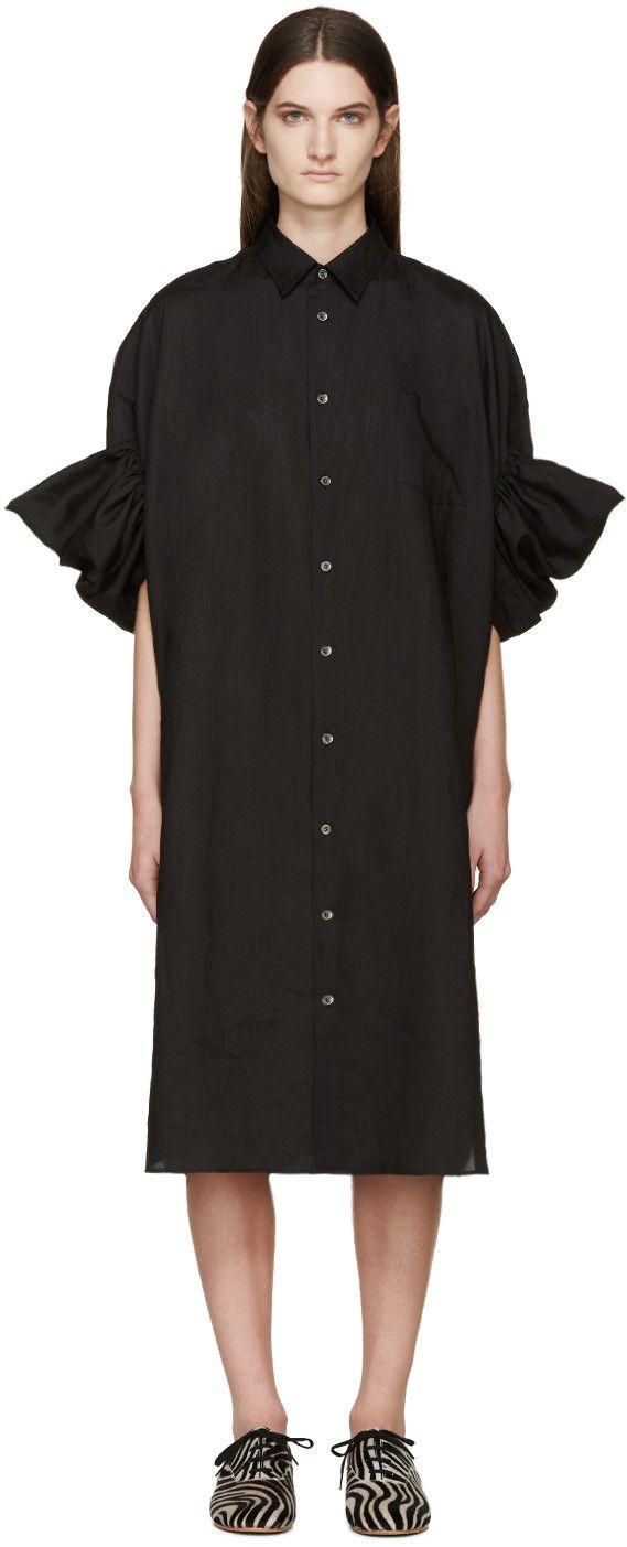 Junya Watanabe Robe-chemise à volants en lin noir                                                                                                                                                                                 Plus