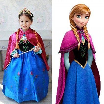 Frozen vestiti principessa Anna abito carnevale bimba con corona e bacchetta. Taglia 140. Età 7-8 anni. MWS: Amazon.it: Giochi e giocattoli