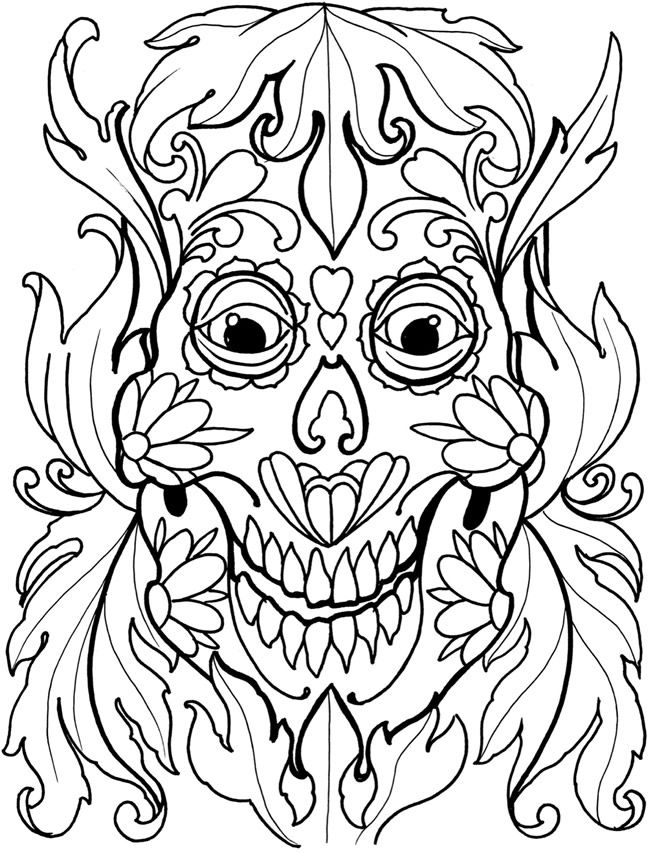 sugar skull tattoo coloring book dover publications - Sugar Skull Tattoo Coloring Pages