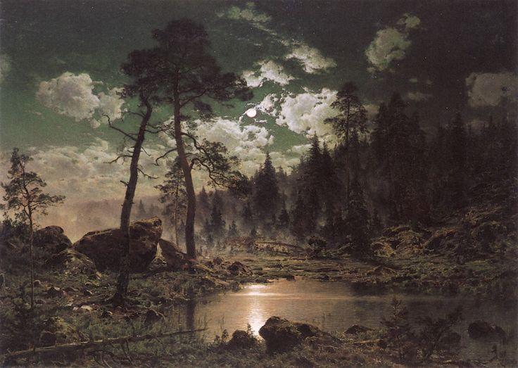 """Hjalmar Munsterhjelm, """"Forest Landscape in Moonlight"""" (1883)"""