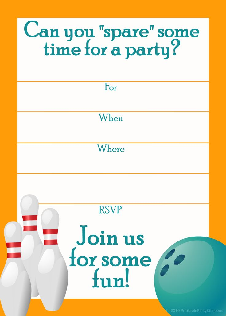 199 best Invitations images on Pinterest Printables, Birthday - bowling invitation template