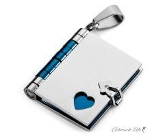 Buch Anhänger mit Herz  316 L  Edelstahl blau Silber...