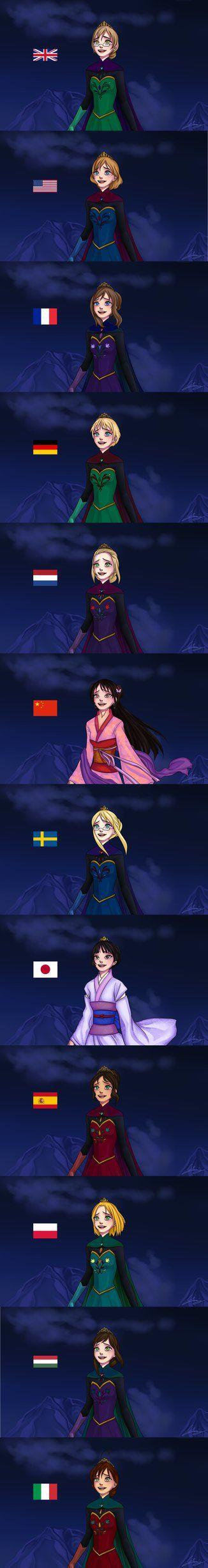 I love this so much- Elsa of different nationalities