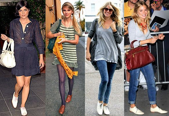 With: SKINNY JEANS or LOOSE JEANS or CROPPED PANTS:  -Just roll up the jeans a bit, if the pants are long.  -Wear with socks in a cute color or pattern (i.e. Stripes!  Even bold ones, like these!)