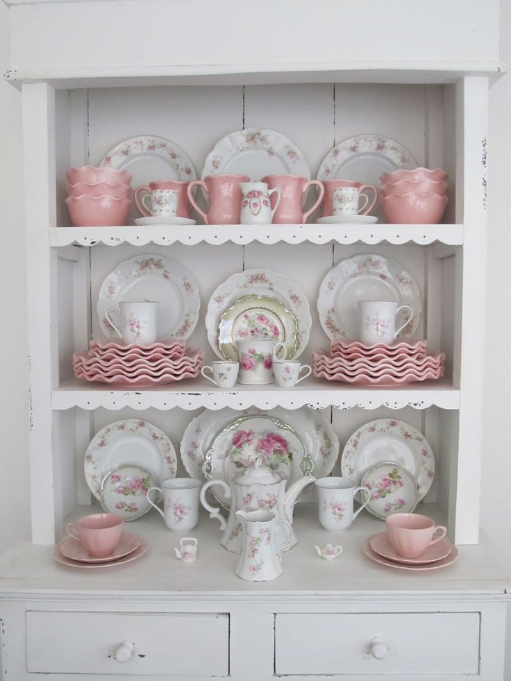 Vintage pink roses with pink ruffled china. The old with the new. Breakfast…                                                                                                                                                                                 More