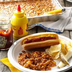 Baked Beans with Pineapple Recipe -This recipe is a staple at our neighborhood's annual barbecue. —J Hindson, Victoria, British Columbia