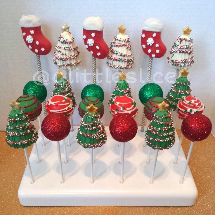 Christmas cake pops - Christmas cake pop set of 24! Made by Christina Pagan & Yesenia Figueroa.  Find us:  Facebook.com/alittleslice1 & on Instagram /alittleslice/
