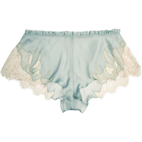 Carine Gilson Florence lace-trimmed silk-satin shorts found on Polyvore featuring intimates, panties, lingerie, shorts, bottoms, sleepwear, c.underwear, lingerie camisole, lace trim cami and camisole lingerie
