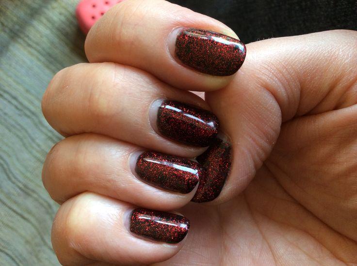 Zwart met rode glitters