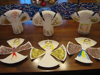 Simple Paper Plate Angels - can be flat or staple to stand.  punch hole, string yarn = ornament. Christmas craft for kids