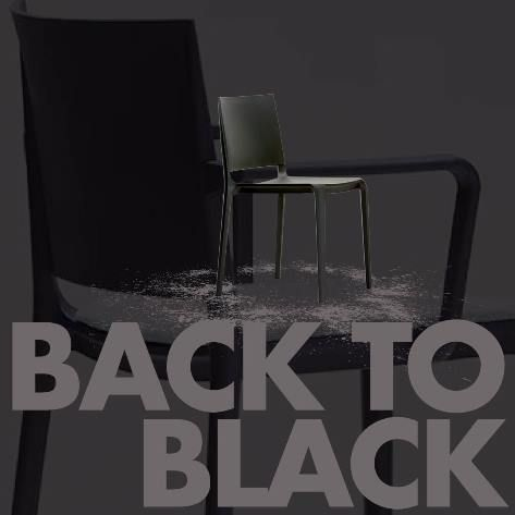 The Tonina stackable chair in Back to Black http://www.zenithinteriors.com.au/product/2517/tonina