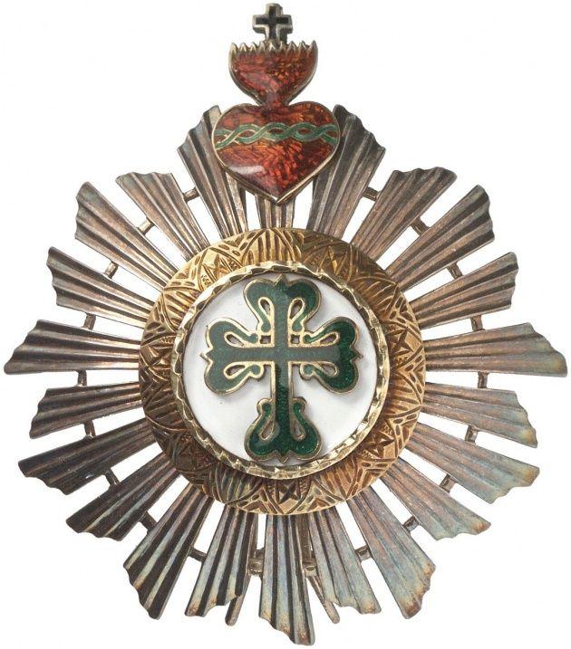 """PORTUGAL, KÖNIGREICH (BIS 1910) - Militärischer Orden des hl. Benedikt von Avis [Ordem Militar de São Bento de Aviz]. 2. Modell (mit sogen. """"Herz-Jesu-Dekoration"""" – 1789-1894), Bruststern zum Großkreuz [Grã-Cruz], portugiesische Ausgabe (sogen. """"Glanzkörper"""", hier mit 22 Strahlen), j"""