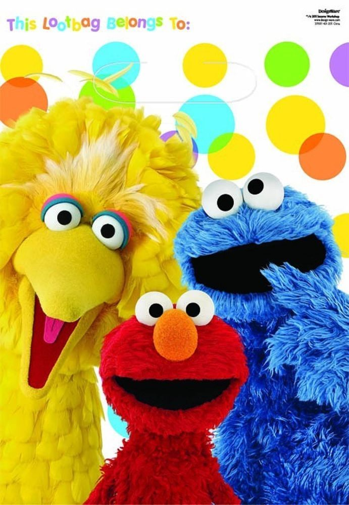 Elmo Cookie Monster Big Bird Sesame Street Party Supplies - Party Lootbags 8pk