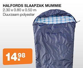 Ook voor kampeerspullen kun je prima bij Halfords.nl terecht. Breed aanbod en scherp geprijsd. Deze slaapzak bijvoorbeeld, lekker warm slapen.