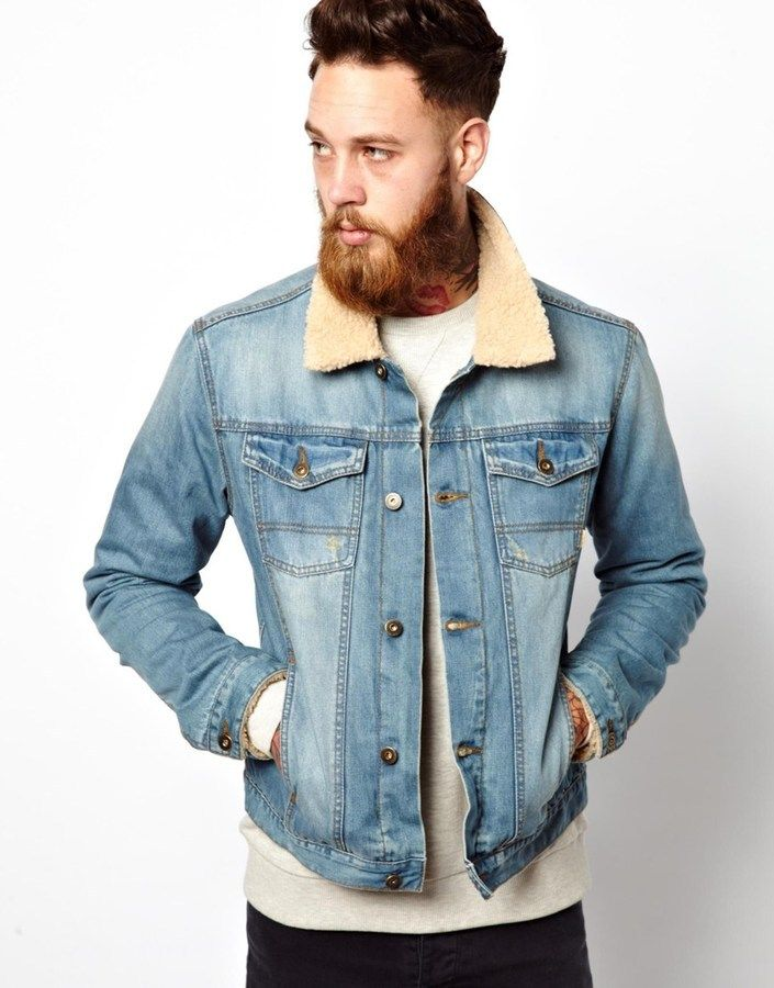 $67, Light Blue Denim Jacket: Asos Brand Denim Jacket With Borg Collar. Sold by Asos. Click for more info: https://lookastic.com/men/shop_items/298848/redirect