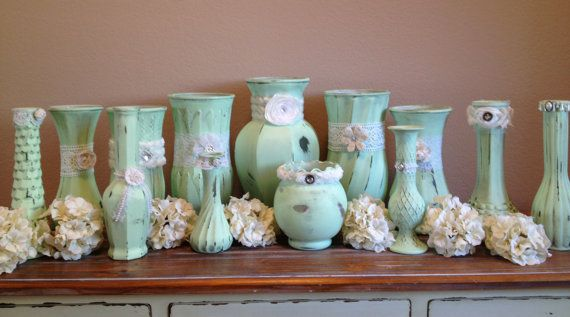 @Célia Tasca  I love these ! Shabby Chic Vintage Mint Wedding Vases by TinCanBoutique on Etsy, $149.00