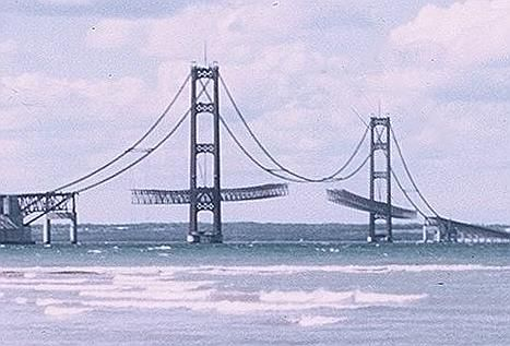 Totally cool picture of the Mackinac bridge under construction, with still-unconnected dangling sections of what would become the roadway.