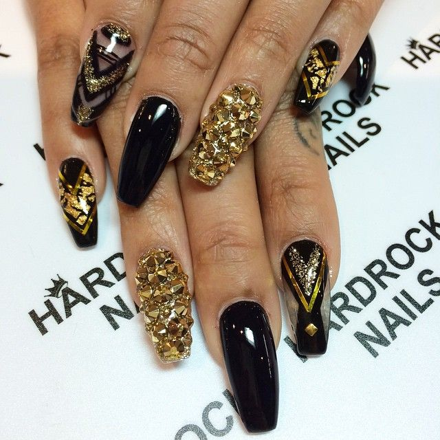 black and gold negative space coffin nails bright