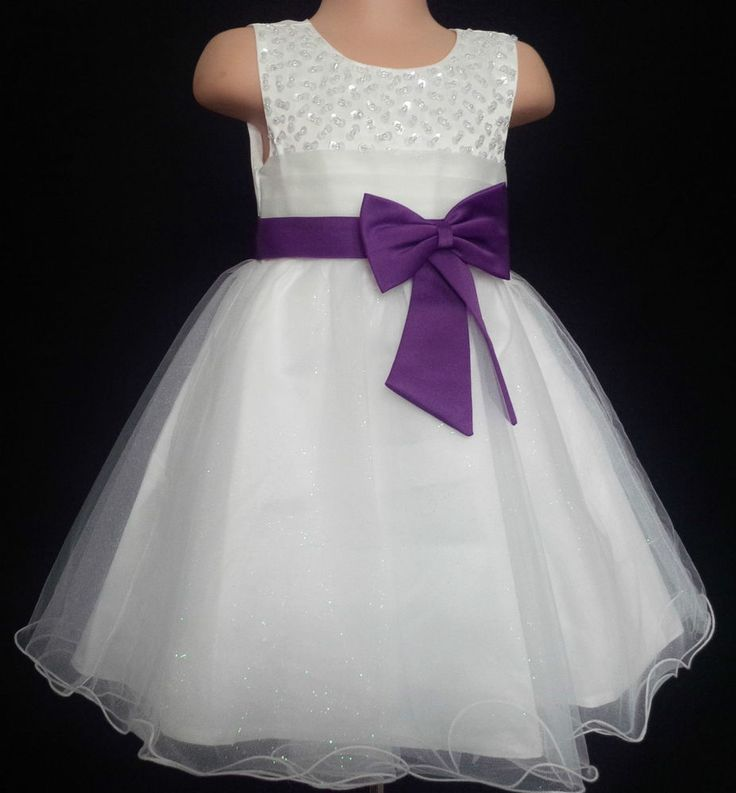 Cadbury Purple Flower Girl Bridesmaid Communion Prom Wedding Party Dress 3-13y