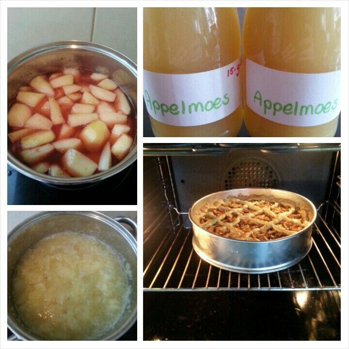 Zelf gemaakte appelmoes taart en stoofperen