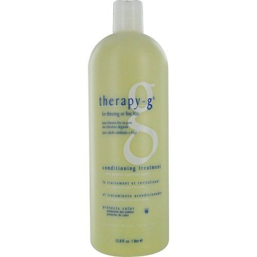 Therapy-G For Thinning or Fine Hair Conditioning Treatment, 33.8 Ounce by Therapy-G. Save 3 Off!. $45.64. Detangles, does not weigh the hair down. Conditiong treatment with patented tryptobond guard. Delivers tryptobond guard to individual shafts of hair. The Therapy-G complex of proteins, vitamins and botanicals is formulated to be the most effective treatment and fashion styling for thinning or fine hair.
