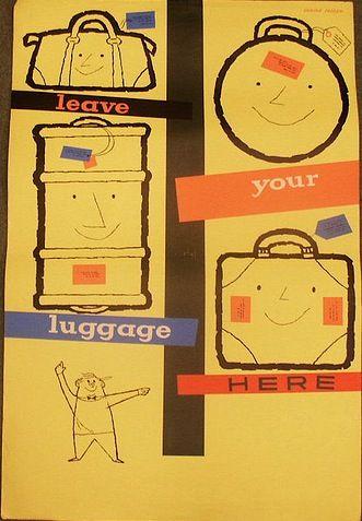 Daphne Padden coach left luggage vintage poster