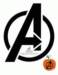 The Avengers Logo Pumpkin Template.  I might have to use this.