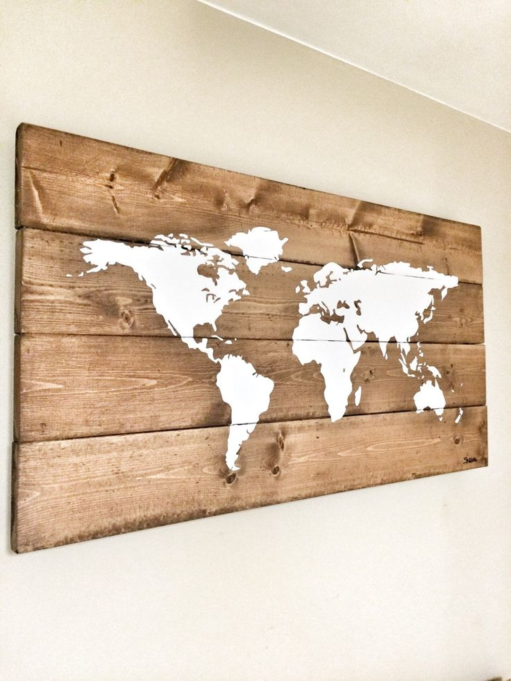 Rustic Nursery Wall Decor : Rustic wood world map decor farmhouse
