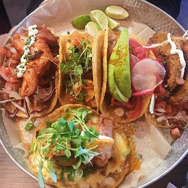 If dim sum had tacos. Fish taco, fried avocado taco, duck carnitas taco, spicy shrimp taco and shrimp chile relleno taco with sea urchin @cacaomexicatessen. #tacos #mexicanfood #altacalifornia #eaglerock #tacolife #tacolover #instagood #instafood #eeeeeats #nomnom #foodporn #foodphotography  #Regram via @streetgourmetla