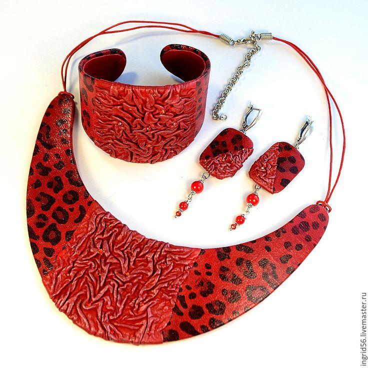 Купить Браслет из кожи Огненный леопард - ярко-красный, украшения из кожи…
