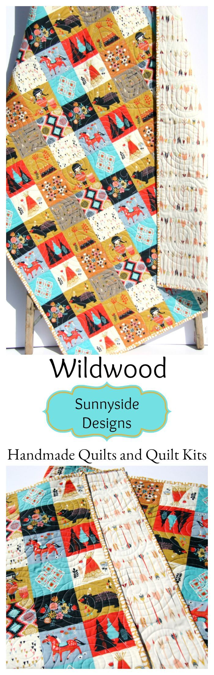 Baby Quilt Kit for Beginners, Panel Patchwork Quilt Kit, Easy Baby Quilt Kit, Wildwood Birch Organic Fabrics, Aztec Indian Girl Teepee Arrows Arrows Gender Neutral Tepee Boy or Girl Baby Bedding Nursery Decor Ideas, Handmade Baby Quilt Toddler Bed Quilt, Quilts for Sale by Sunnyside Designs