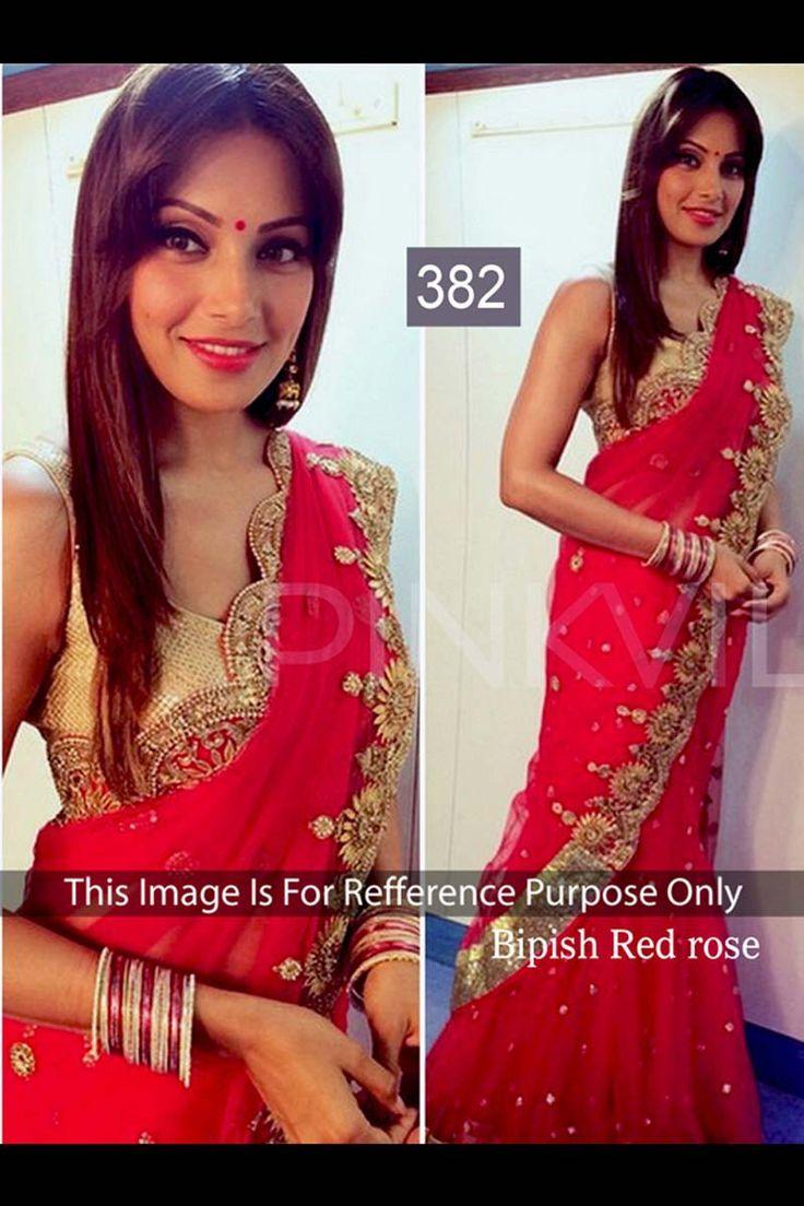 Bipasha Basu Red Georgette Latest Bollywood Saree