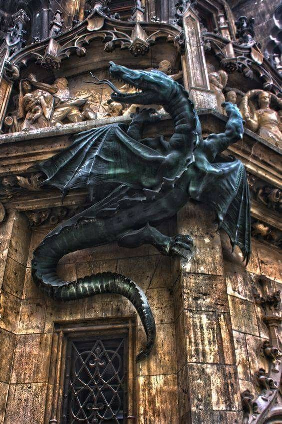 Dragon on the Wall, Town Hall, Munich, Germany.