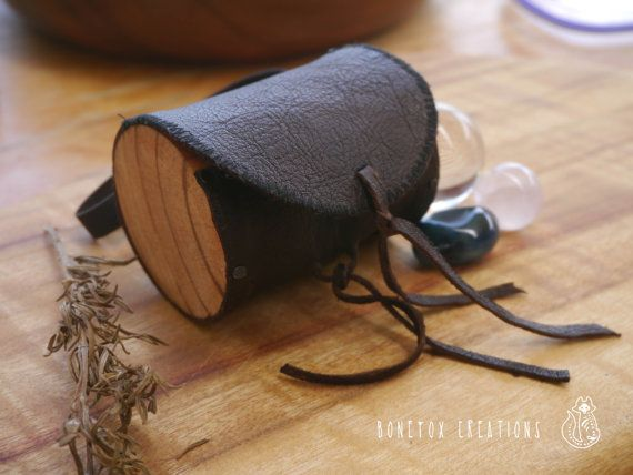 Leather and camphor laurel timber natural clutch. by BoneFox