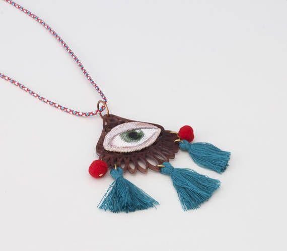 Green Evil Eye Necklace  Hand Painted OOAK Evil Eye Triple