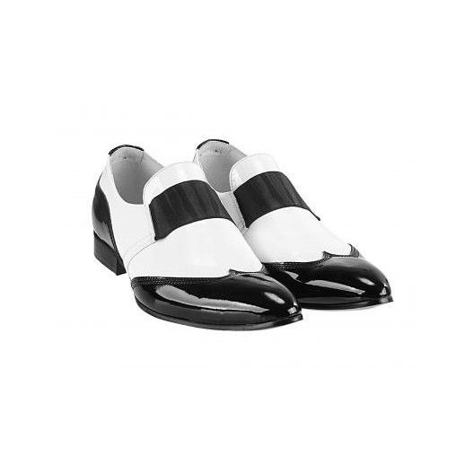 Pánske kožené extravagantné topánky bieločierne PT034 - manozo.hu