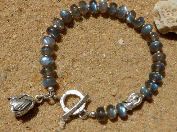 Labradorite Bracelet Hill Tribe Silver Rose Charms by Lapideum